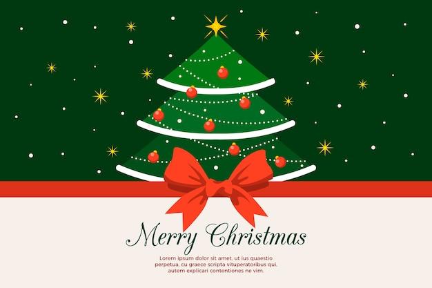 Kerstboom en lintachtergrond