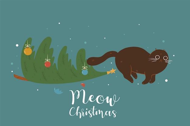 Kerstboom en schattige kat.