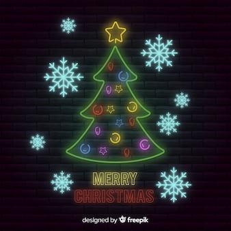 Kerstboom en sneeuwvlokken neon teken