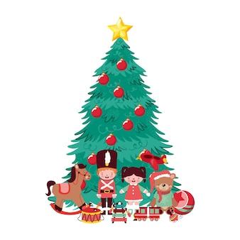 Kerstboom en speelgoedcartoons met poppen en muziekinstrumenten.