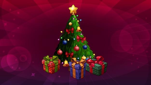 Kerstboom geïsoleerd op abstract rood