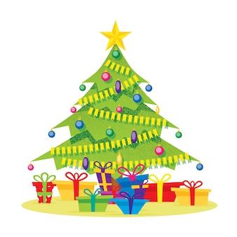Kerstboom geïsoleerd op wit met geschenkdozen