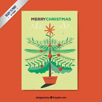 Kerstboom gele kaart met ballen