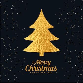 Kerstboom gemaakt met gouden folie achtergrond