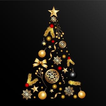 Kerstboom gemaakt of realistische gouden decoratie Gratis Vector