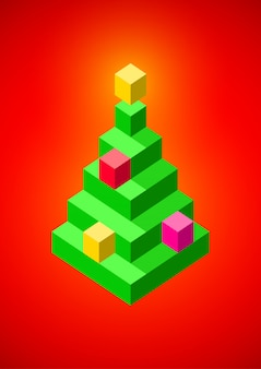 Kerstboom gemaakt van 3d-pixels
