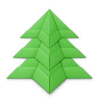 Kerstboom gemaakt van gevouwen papier