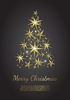 Kerstboom gemaakt van goudfolie sterren op zwarte achtergrond, christmas wenskaart,