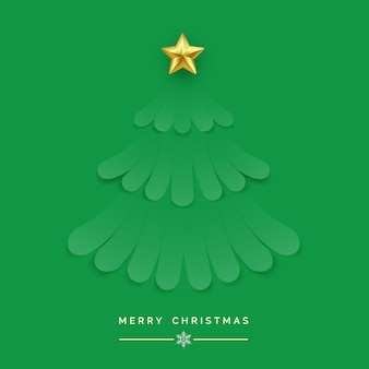 Kerstboom gemaakt van groene linten op groene achtergrond