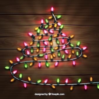 Kerstboom gemaakt van kerstverlichting