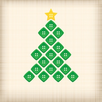 Kerstboom gemaakt van knoppen