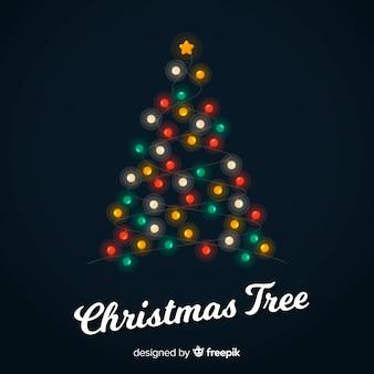 Kerstboom gemaakt van lichte guirlande