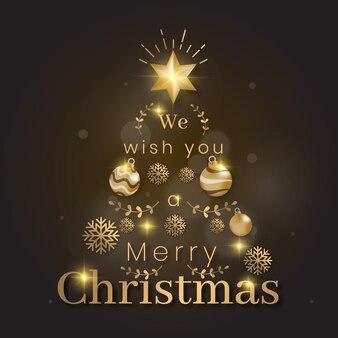 Kerstboom gemaakt van realistische gouden decoratie