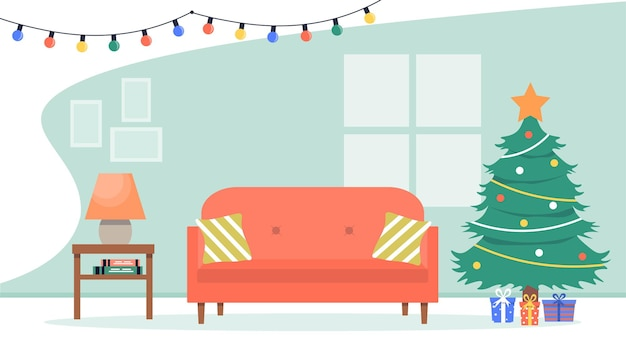 Kerstboom, geschenken, gloeilampenketting, bank, lamp. gezellig feestelijk interieur in cartoonstijl. vectorillustratie in vlakke stijl.