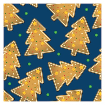 Kerstboom ginger cookies naadloos patroon