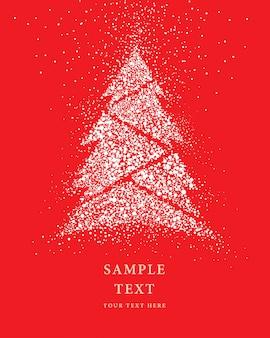 Kerstboom glitter snow vector op rode achtergrond