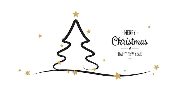 Kerstboom goud sterren groeten witte achtergrond