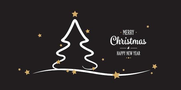 Kerstboom goud sterren groeten zwarte achtergrond