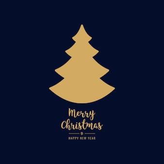 Kerstboom gouden silhouet groeten tekst blauwe achtergrond
