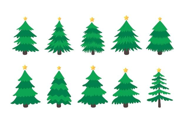 Kerstboom. groene dennenboom versierd met sterren voor kerstversiering.