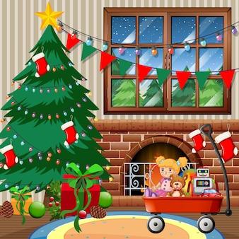 Kerstboom in het huis vrolijke kersttafereel