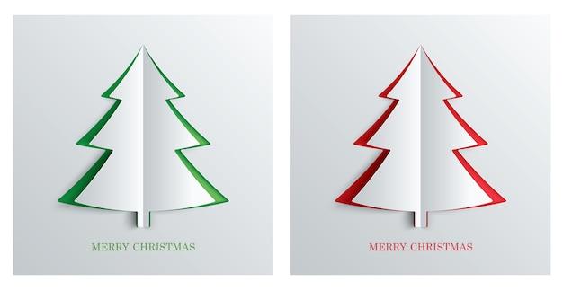 Kerstboom in papier kunststijl met groene en rode kleur