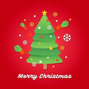 Kerstboom in papieren stijl