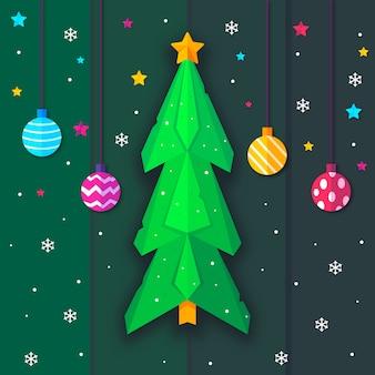 Kerstboom in papierstijl en hangende kerstballen