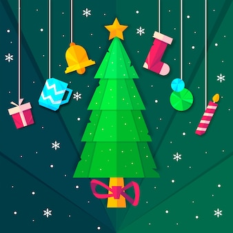 Kerstboom in papierstijl met hangende kerstaccessoires