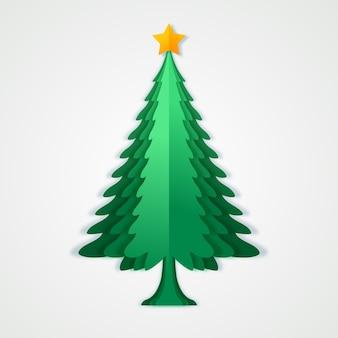 Kerstboom in papierstijl met ster