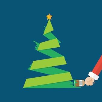 Kerstboom is geschilderd met een kwast