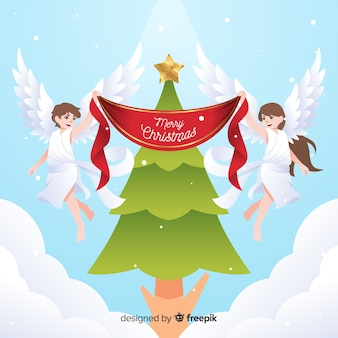 Kerstboom kerst engelen achtergrond