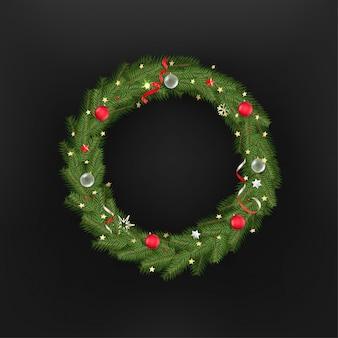 Kerstboom krans. sjabloon voor wenskaart