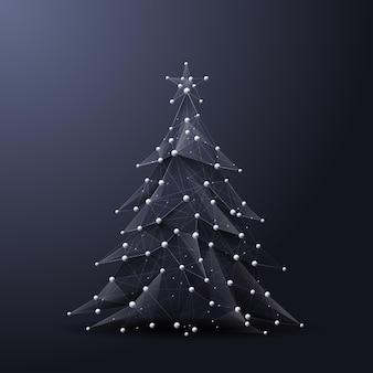 Kerstboom laag poly draadframe vector veelhoekige afbeelding in de vorm van een sterrenhemel of ruimte