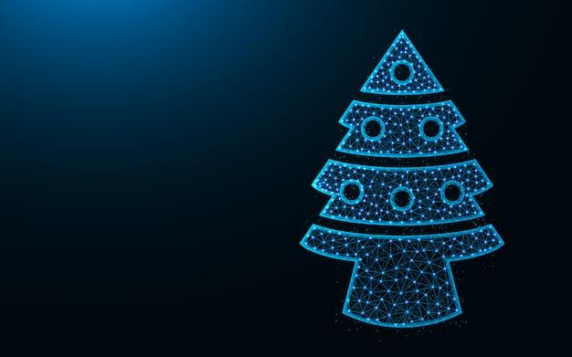 Kerstboom laag poly ontwerp, sparren met speelgoed abstracte geometrische afbeelding, draadframe mesh veelhoekige vector illustratie gemaakt van punten en lijnen