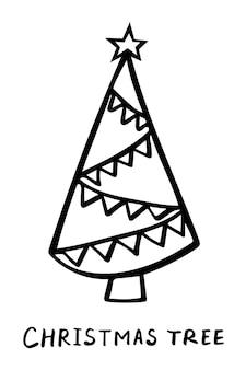 Kerstboom lineart doodle