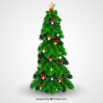 Kerstboom met ballen en verlichting