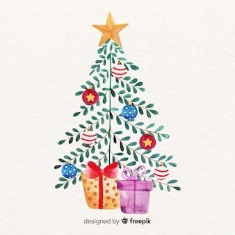 Kerstboom met bladeren en geschenken
