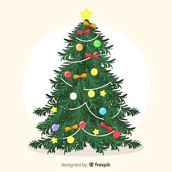 Kerstboom met bogenachtergrond