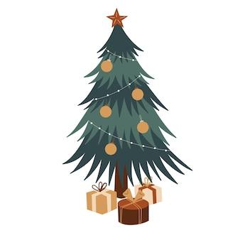 Kerstboom met cadeaus illustratie