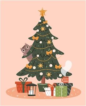 Kerstboom met cadeautjes concept