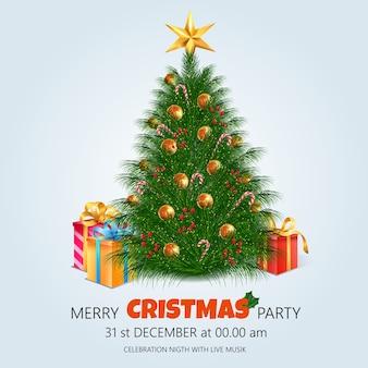 Kerstboom met decoratieachtergrond