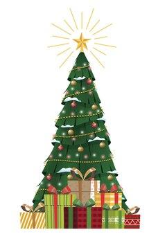 Kerstboom met decoraties met geschenkdoos vrolijk kerstfeest plat ontwerp