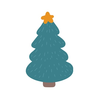 Kerstboom met een ster vectorillustratie in doodle-stijl. ontwerp voor nieuwjaar, kerstmis
