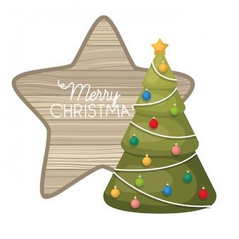 Kerstboom met geïsoleerde ster in hout