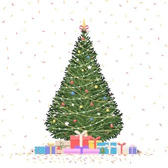 Kerstboom met geschenken en confetti