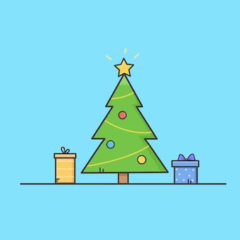 Kerstboom met geschenken en speelgoed.