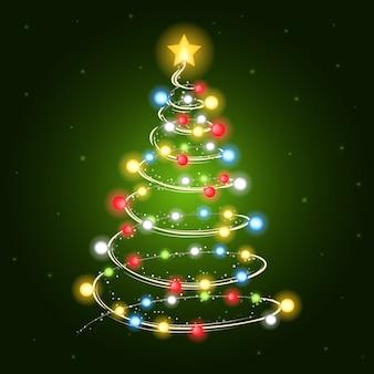 Kerstboom met gloeilampen
