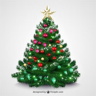 Kerstboom met heldere kerstballen