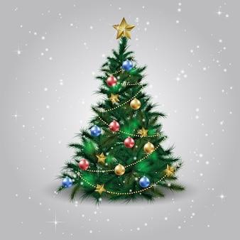 Kerstboom met kerstster, ballen en lichten. groene spar of den